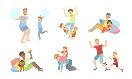 Fathers and Their Kids Having Good Time Together Set, Dads Playing, Doing Sports, Having Fun with Their Children Vector Illustration Stock Illustratie