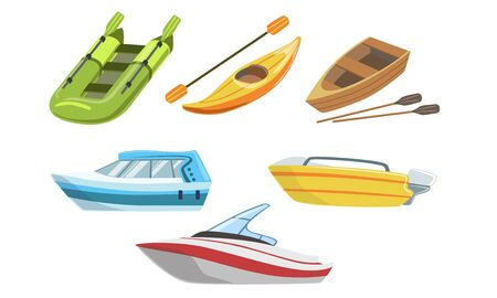 Collezione di barche, diversi tipi di trasporto su acqua, barca gonfiabile e in legno, motoscafo, illustrazione vettoriale di kayak