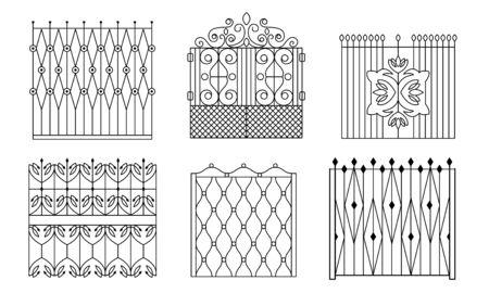 Decoratieve zwarte smeedijzeren poorten set, vintage hekken met wervelingen vectorillustratie