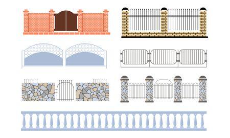 Conjunto de vallas decorativas, madera, hierro forjado, piedra, vallas de ladrillo, ilustración vectorial