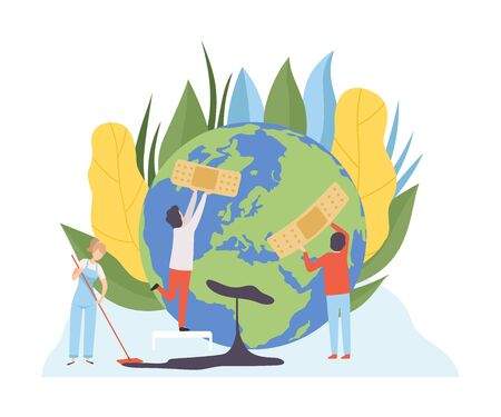 People Healing Planet Wounds with Medical Adhesive, Volunteers Taking Care About Planet Ecology, Environment, Nature Protection Flat Vector Illustration Vectores