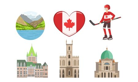 Canada Traditional Cultural Symbols and Attractions Set Vector Illustration