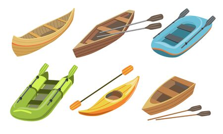 Collection of Boats, Different Types of Water Transport Vector Illustration