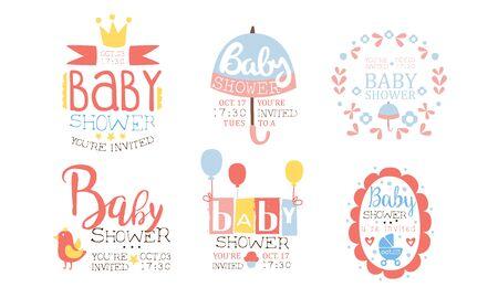 Baby Shower Invitation Templates Set, Cute Design Elements for Newborn Celebration Party Vector Illustration Vectores
