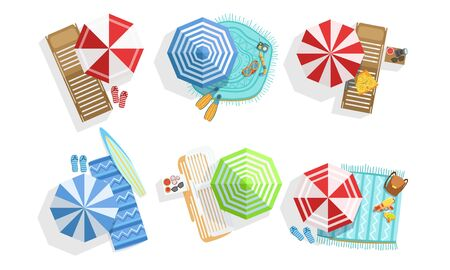 Collection of Sunny Parasols, Chaise Lounges and Towels, Summer Beach View From Above Vector Illustration Vector Illustration