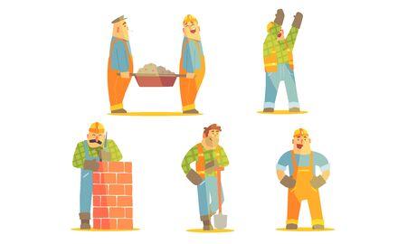 Set di personaggi dei cartoni animati di riparatore felice, operai edili in uniforme e elmetti protettivi con illustrazione vettoriale di attrezzature professionali Vettoriali
