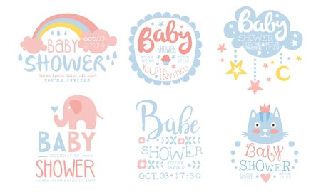 Baby Shower Invitation Templates Set, Cute Design Elements for Boy or Girl Newborn Celebration Party Hand Drawn Vector Illustration Çizim