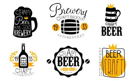 Brewery Craft Beer Retro Labels Set, Oktoberfest Design Templates Hand Drawn Vector Illustration