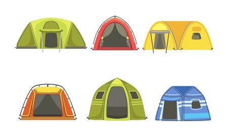 Collection of Tourist Tents, Hiking and Camping Equipment Vector Illustration
