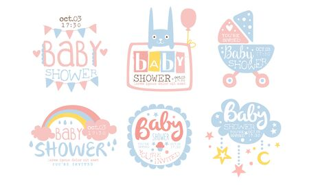 Baby Shower Invitation Templates Set, Cute Design Elements for Boy or Girl Newborn Celebration Party Vector Illustration