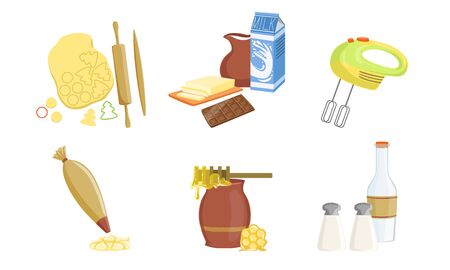 Kitchen Tools And Utensils Set, Baking Ingredients Vector Illustration