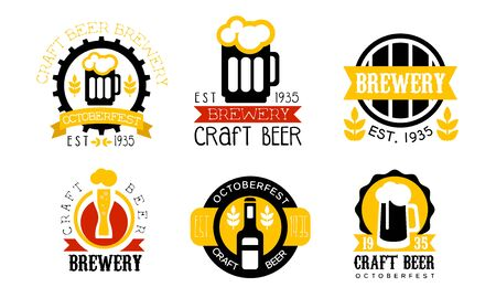 Brewery Craft Beer Retro Labels Set, Best Recipe, Oktoberfest Badges Vector Illustration