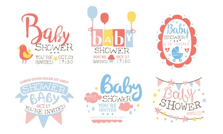 Baby Shower Invitation Templates Set, Cute Holiday Design Elements for Newborn Celebration Party Vector Illustration