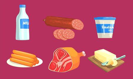 Natural Milk and Meat Products Set, Milk, Sausage, Sour Cream, Ham, Butter Vector Illustration Illustration