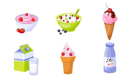 Fresh Delicious Dairy Products Set, Packaging of Milk, Ice Cream, Cottage Cheese Vector Illustration