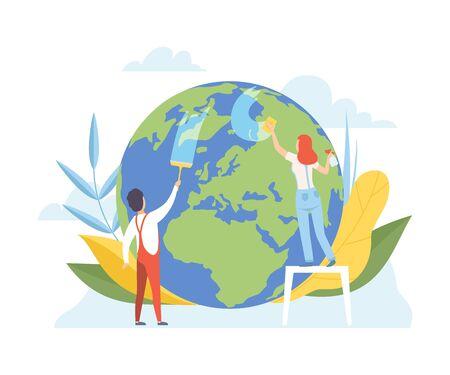 Mann und Frau, die den Planeten Erde mit Reinigungsgeräten säubern, Freiwillige, die sich um die Planetenökologie, Umwelt, Naturschutz Flache Vektorillustration kümmern