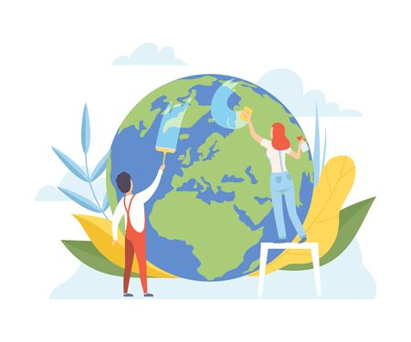 Man and Woman Cleaning the Earth Planet with Cleaning Equipment, Volunteers Taking Care About Planet Ecology, Environment, Nature Protection Flat Vector Illustration