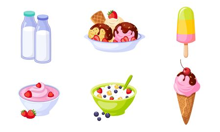 Fresh Delicious Dairy Products Set, Bottles of Milk, Ice Cream, Cottage Cheese Vector Illustration Иллюстрация