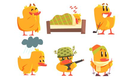 Funny Yellow Humanized Chicken Cartoon Characters in Various Situations Set Vector Illustration