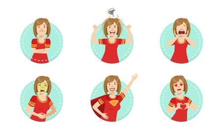 Young Woman Showing Various Emotions Set, Female Emoji Character with Different Expressions Vector Illustration