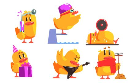 Funny Yellow Humanized Chicken in Various Situations Set, Cute Bird Cartoon Character Activity Vector Illustration