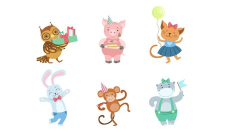 Collection of Cute Happy Animals for Happy Birthday Design, Bunny, Monkey, Hippo, Owlet, Pig, Cat Vector Illustration