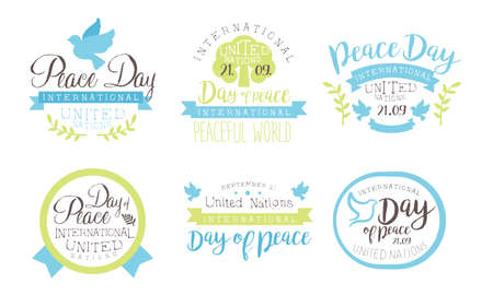 International Peace Day, United Nations Templates Set, Peaceful World Hand Drawn Badges Vector Illustration