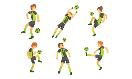 Soccer Players Kicking Ball Set, Professional Athlete Characters Showing Different Actions Vector Illustration on White Background. Ilustração