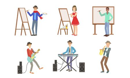 People of Creative Professions Set, Artists Painting on Canvas and Musicians with Musical Instruments Vector Illustration Stock Illustratie