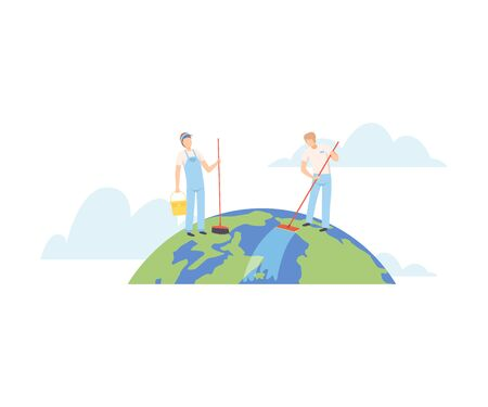 People Cleaning the Earth Planet with Cleaning Equipment, Volunteers Taking Care About Planet Ecology, Environment, Nature Protection Flat Vector Illustration