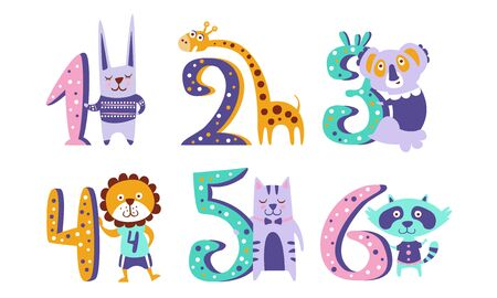 Cute Kids Anniversary Numbers with Animals, Rabbit, Giraffe, Koala, Lion, Cat, Raccoon Vector Illustration Иллюстрация
