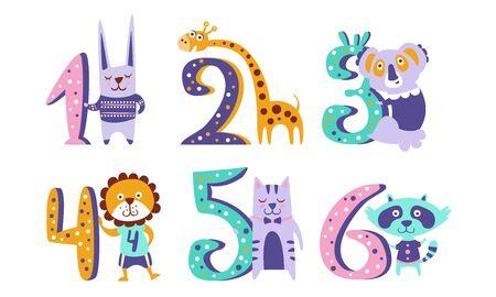 Cute Kids Anniversary Numbers with Animals, Rabbit, Giraffe, Koala, Lion, Cat, Raccoon Vector Illustration Illustration
