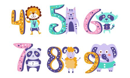 Cute Kids Anniversary Numbers with Animals, Lion, Cat, Raccoon, Panda, Sheep, Elephant Vector Illustration