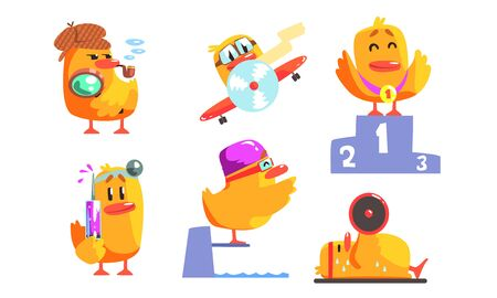 Funny Humanized Chicken Cartoon Character in Various Situations Set, Funny Bird Activity Vector Illustration