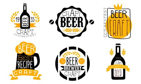 Brewery Craft Beer Retro Labels Set, Best Recipe, Oktoberfest Design Templates Hand Drawn Vector Illustration Иллюстрация