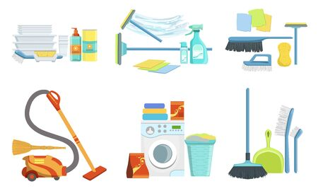 Tools for Cleaning Set, Household Supplies, Washing Machine, Detergent Bottles, Mop, Brush, Vacuum Cleaner Vector Illustration on White Background.