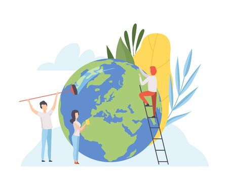 People Cleaning the Earth Planet, Volunteers Taking Care About Planet Ecology, Environment, Nature Protection Flat Vector Illustration Stock Vector - 129800248