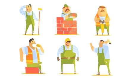 Repairman Cartoon Characters Set, Construction Workers in Uniform and Hardhats with Professional Equipment Vector Illustration Ilustracja
