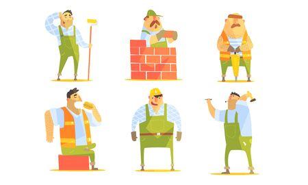 Set di personaggi dei cartoni animati del riparatore, operai edili in uniforme e elmetti protettivi con illustrazione vettoriale di attrezzature professionali Vettoriali
