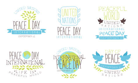 International Peace Day, United Nations Templates Set, Peaceful World, United Nations Hand Drawn Badges Vector Illustration