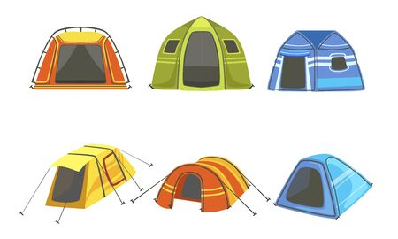 Tourist Tents Set, Hiking and Camping Equipment Vector Illustration Çizim