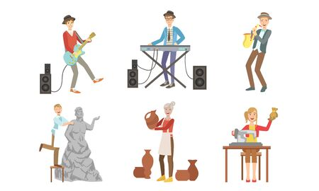 People of Creative Professions Set, Musicians with Musical Instruments, Sculptor, Ceramist, Seamstress Vector Illustration