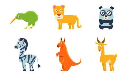 Collection of Cute Exotic Animals and Birds, Kiwi Bird, Lion, Panda, Zebra, Kangaroo, Antelope Vector Illustration Illusztráció
