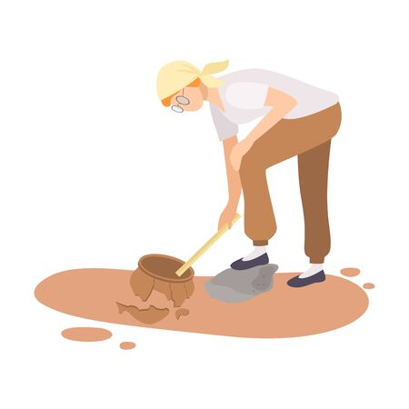 Female Archaeologist Researching and Measuring Ancient Amphora, Scientist Character Working on Excavations with Historical Artifacts Flat Vector Illustration Illustration
