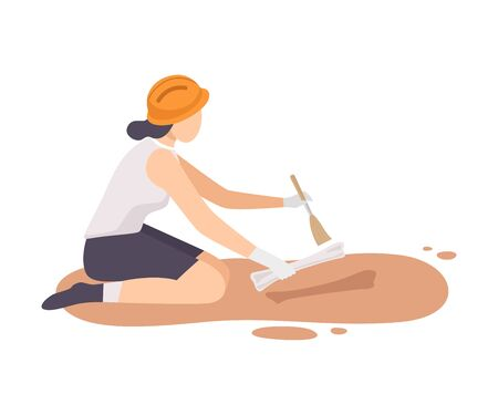 Female Archaeologist Sitting on Ground and Sweeping Dirt from Bone of Skeleton Using Brush, Paleontology Scientist Character Working on Excavations with Historical Artifacts Flat Vector Illustration