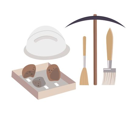 Archaeological Excavation Tools and Prehistoric Fossils, Pickaxe, Brush, Ceramic Crocks Flat Vector Illustration