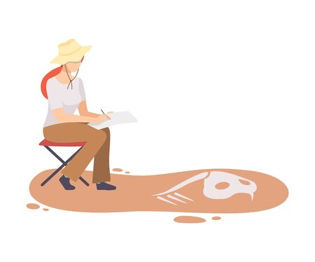 Female Archaeologist Researching and Describing Bones of Prehistoric Animal, Scientist Character Working on Excavations with Historical Artifacts Flat Vector Illustration