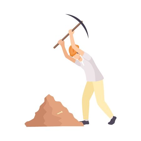 Male Archaeologist Scientist Character in Protective Hat Working on Excavations with Pickaxe Flat Vector Illustration Ilustrace