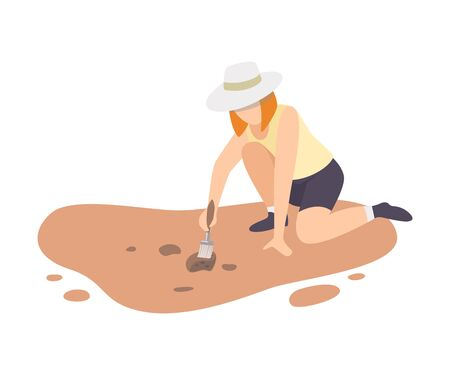 Female Archaeologist Sitting on Ground and Sweeping Dirt from Ceramic Crocks Using Brush, Paleontology Scientist Character Working on Excavations with Historical Artifacts Flat Vector Illustration