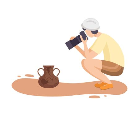 Female Archaeologist Researching and Photographing Ancient Amphora, Scientist Character Working on Excavations with Historical Artifacts Flat Vector Illustration